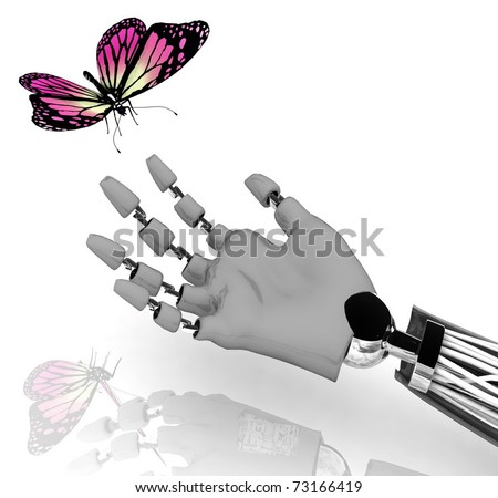 The butterfly on a hand of the robot