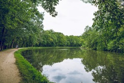 The C and O Canal towpath of the Billy Goat Trail along the Potomac River near the Great Falls in the Chesapeake and Ohio Canal National Historic Park in Maryland.