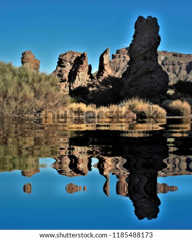 The Cañadas del Teide reflected in the water, Tenerife,tourism, tourist, advertising, tourist destination, holidays, travel, travelers, happiness, relaxation, fun, #1185488173