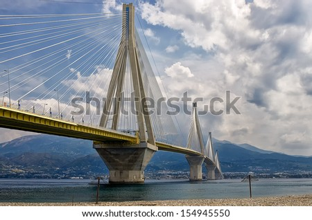 The cable bridge between Rio and Antirrio, Patra, Greece  #154945550