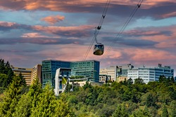 The cable car and tramway that carries patients to a hospital on a hill in south Portland, Oregon.