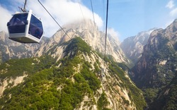 The cable car route to Mount Hua (Hua Shan) seen from gondola, China.