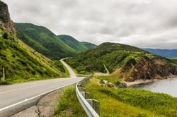 The Cabot Trail winds it's way around the coast of Cape Breton Island in Nova Scotia Canada.