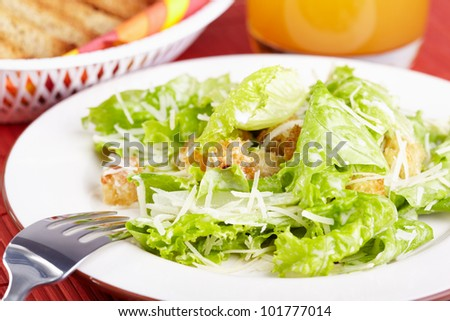 The Caesar salad prepared on the classical recipe