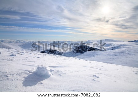 The Cairngorm mountains in the Scottish highlands in Winter.