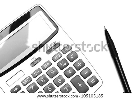 The calculator and pencil. On a white background.