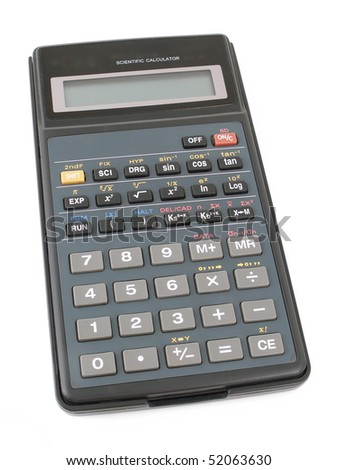 The calculator on a white background. The image contains a contour for cropping.