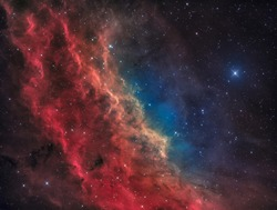 The California Nebula in the Constellation of Perseus with the bright Star Menkib