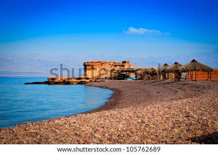 the calm beach  in Sinai with its rocky corals just right below the water/the clear Night/Sinai-Egypt