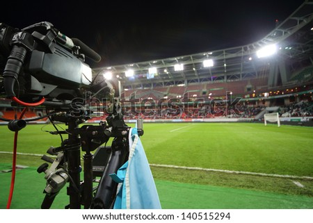 The camcorder records a football match