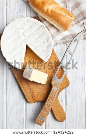 the camembert cheese on kitchen table