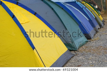 The camp Camping in a row