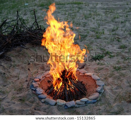 The campfire in the evening - stock photo