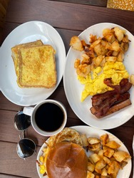 The Canadian breakfast table with French toast