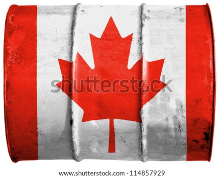 The Canadian flag painted on  oil barrel