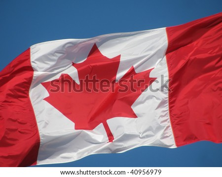 The Canadian Maple Leaf waving against a bright blue sky.