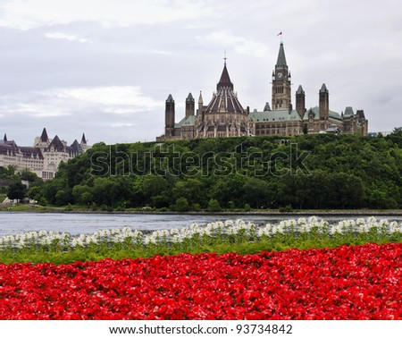 The Canadian Parliament with red and white flowers across the river in Gatineau at 8 O'clock.