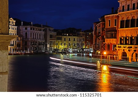 The Canal Grande in the night in Venice, Italy