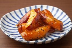 the candied sweet potatoes on a plate