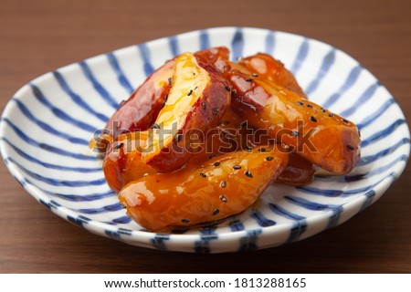 the candied sweet potatoes on a plate ストックフォト ©