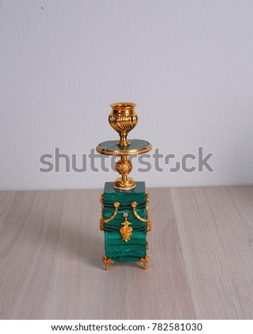 the candle on the malachite stand  #782581030