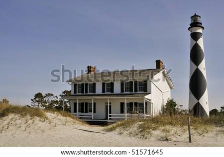 The Cape Lookout Lighthouse on the North Carolina Coast - stock photo