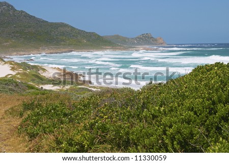 The Cape of Good hope is framed by the sea breaking onto a vegetation covered beach in the foreground.