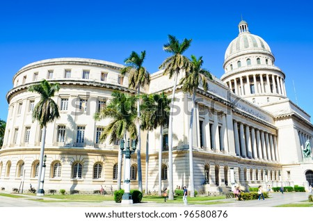 The Capitol building, a famous touristic landmark in Havana