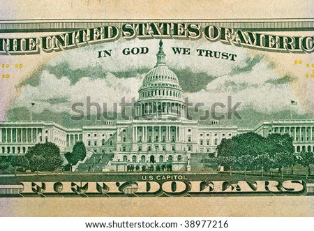 The Capitol Building as depicted on the US $50 Dollar Bill