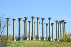 The Capitol Columns in the National Arboretum in Washington DC against a blue sky