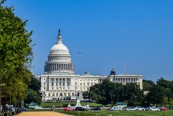 The capitol with a presidential helicopter - Washington D.C, USA