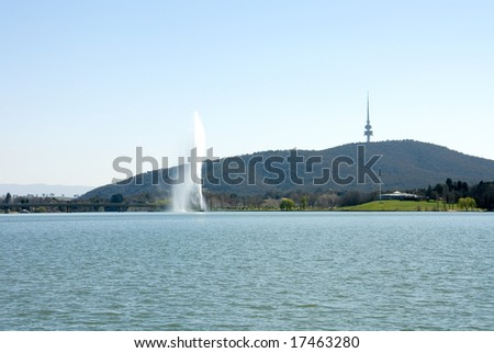 The Captain Cook Memorial Water Jet, Lake Burley Griffin, Canberra, Australia