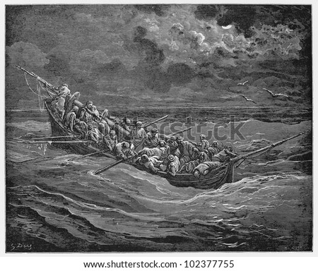 The Captive, Zoraida and Christians in the boat - Picture from The History of Don Quixote book,  published in 1880, London - UK. Drawings by Gustave Dore.