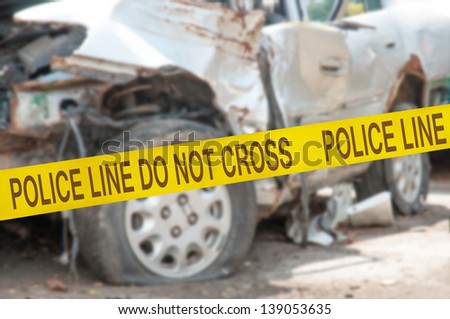 The car accident behind Police Line Do Not Cross barrier tape #139053635