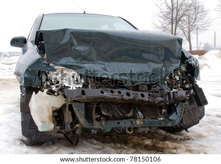 The car after failure in a winter season (in a city)