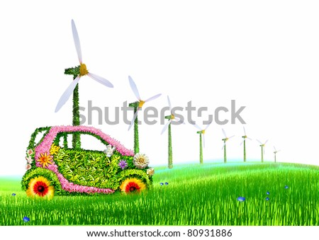 The car and the windmills.
