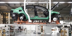 The car assembly line is not assembled to complete the car skeleton