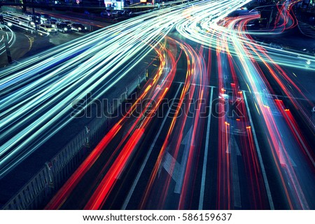 The car light trails in the city