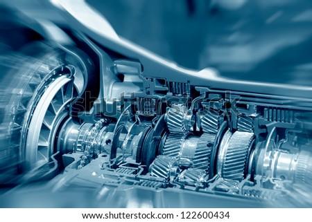 The car's engine closeup
