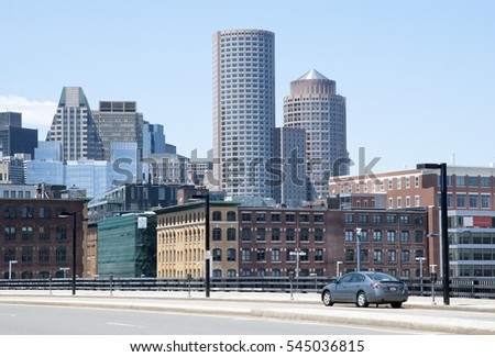 The car travels toward Boston downtown (Massachusetts). #545036815