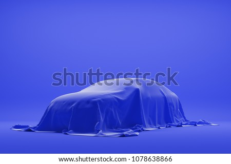 The car under a blue cloth in a autoshow. 3d rendering