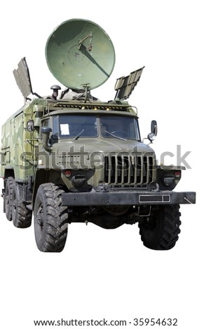 The car with radar, isolated on white