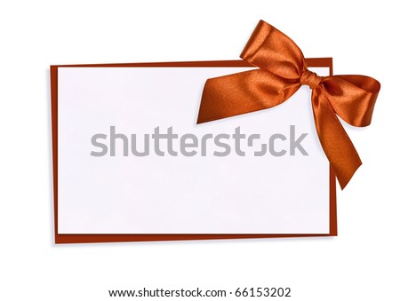 The card decorated with a orange bow