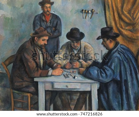 The Card Players, by Paul Cezanne, 1890-92, French Post-Impressionist painting, oil on canvas. This is believed to be the first of five paintings Cezanne made of peasants playing cards