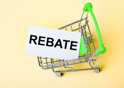The card with the word REBATE is in the shopping cart. Marketing concept