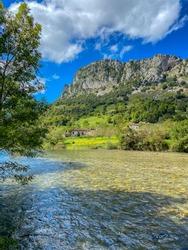 The Cares river near Mier village in Picos de Europa National Park in Asturias, Spain.