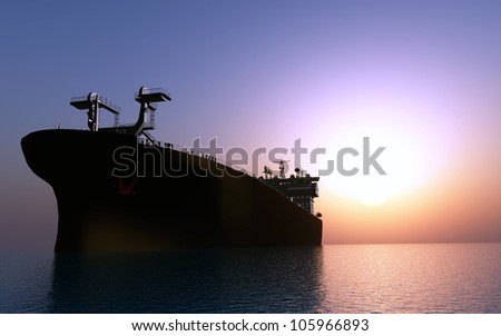 The cargo ship in the sea