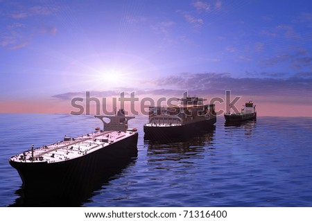 The cargo ships in the sea