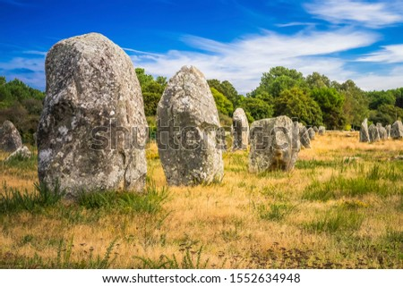 The Carnac stones are an exceptionally dense collection of megalithic sites in Brittany in northwestern France, consisting of stone alignments, dolmens, tumuli and single menhirs.