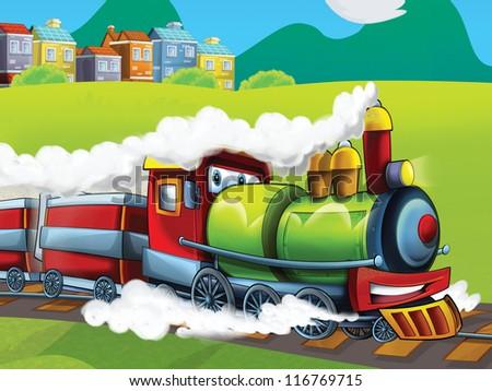 The cartoon locomotive - happy one - illustration for the children